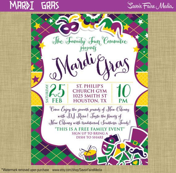 Mardi Gras Flyer Invitation Postcard Poster Template Church School