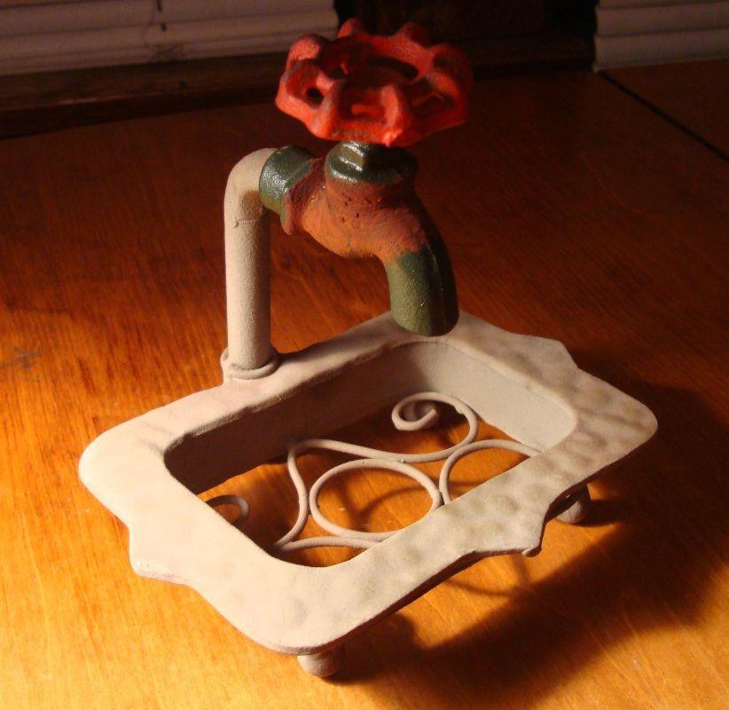 Rustic Country Primitive Antique Faucet Bathroom Soap Dish Home ...
