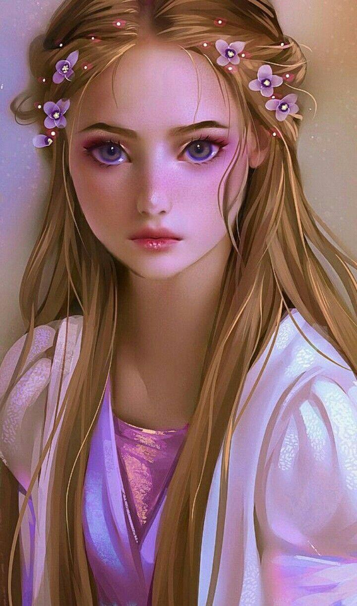 Beautiful  Rapunzel Drawing, Disney Fan Art, Kawaii Girl -5749
