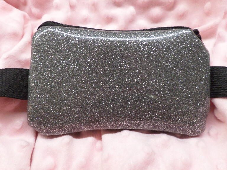 Glittered Orion Silver Vinyl Leather Insulin Pump Pouch - Dazzling Pump Pouches,