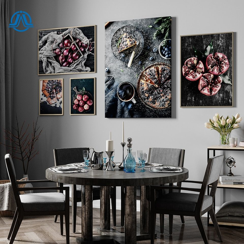 Food Kitchen Poster Wall Art Canvas Print Blueberry Pie Pomegranate Apple Painting Decorative Picture Modern Dining Room Decor Dining Room Decor Modern Wall Decor Living Room Kitchen Wall Art Stickers