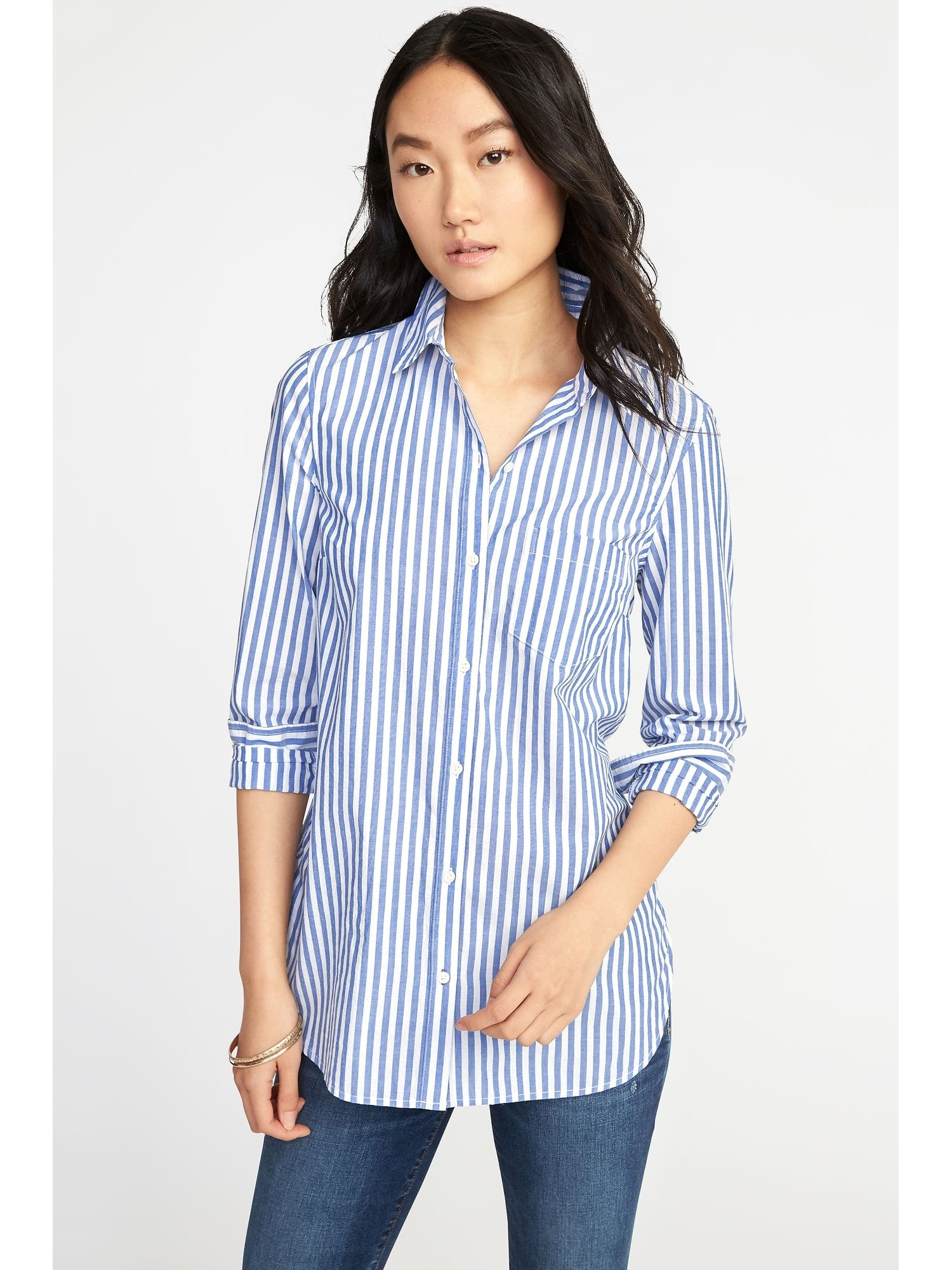 a5120cdf0805c7 Classic Relaxed Striped Tunic for Women | Style | Blouses for women ...