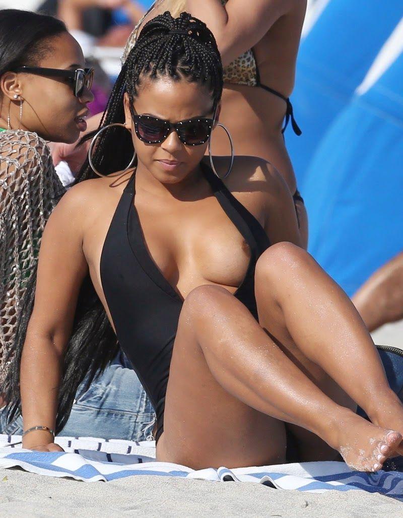 Christina milian sexy beach bikini selfie vid 6