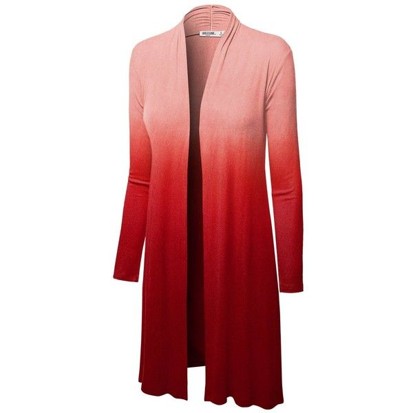 LL Womens Long Sleeve Ombre Open Front Long Cardigan with Stretch ...