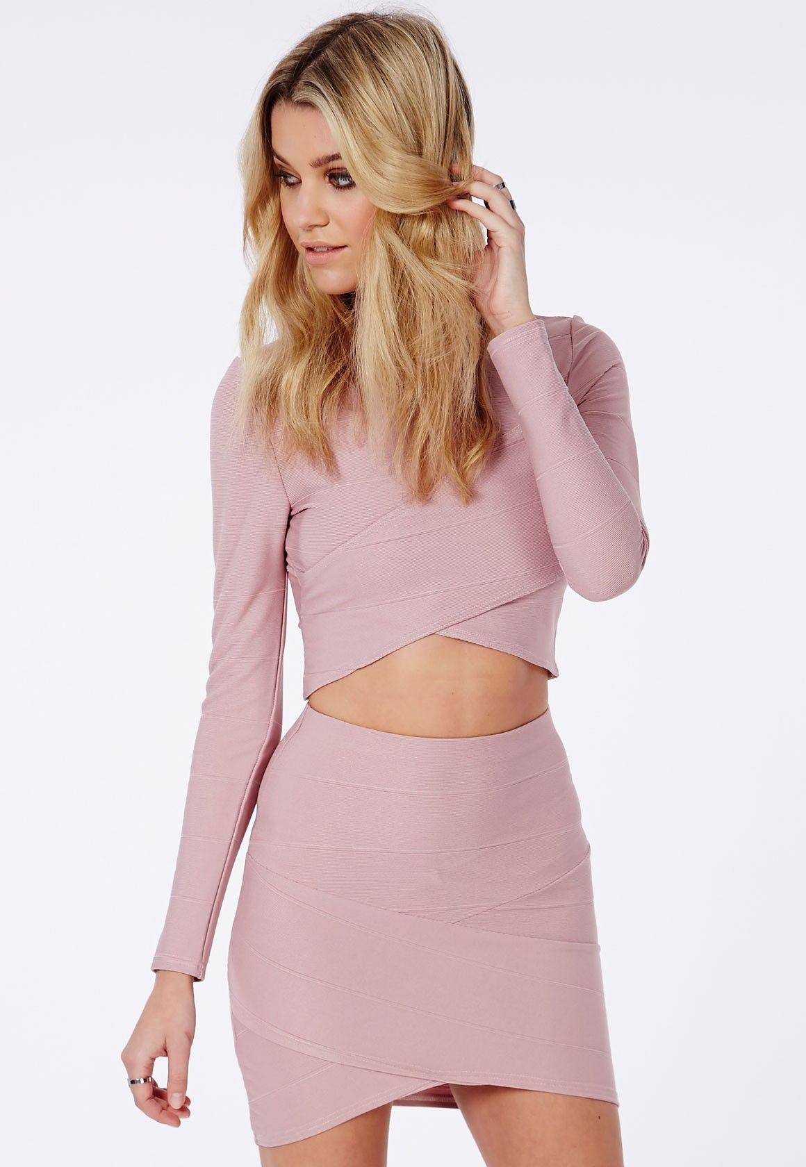 ebabfdde6280 Bandage Asymmetric Hem Mini Skirt Mauve - Skirts - Mini Skirts - Missguided
