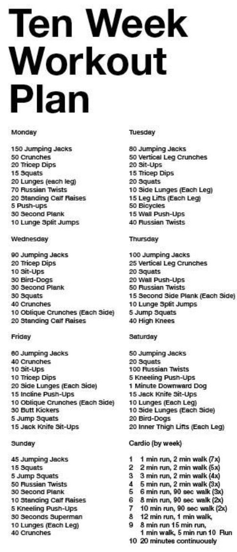 Ten Week Workout Pla Ten Week Workout Plan, I Like The Cardio Plan