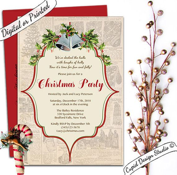 vintage traditional christmas party invitation by cupiddesi