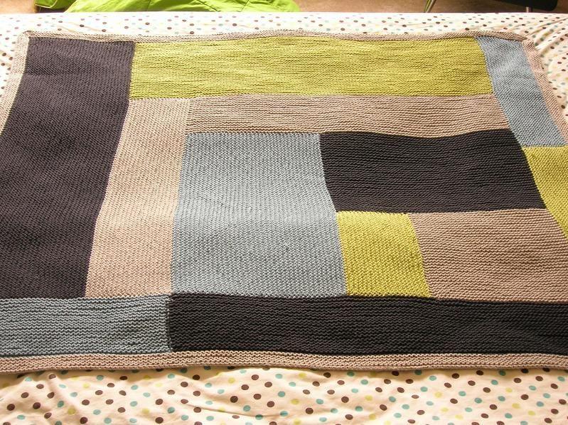 Moderne log cabin baby blanket by iheartmytho knitting for Log cabin blanket