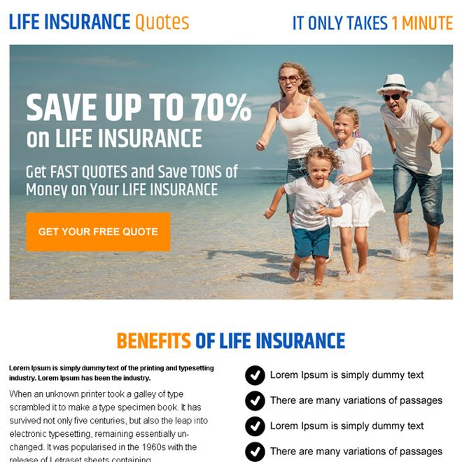 Life Insurance Quote Converting Call To Action Ppv Landing Page