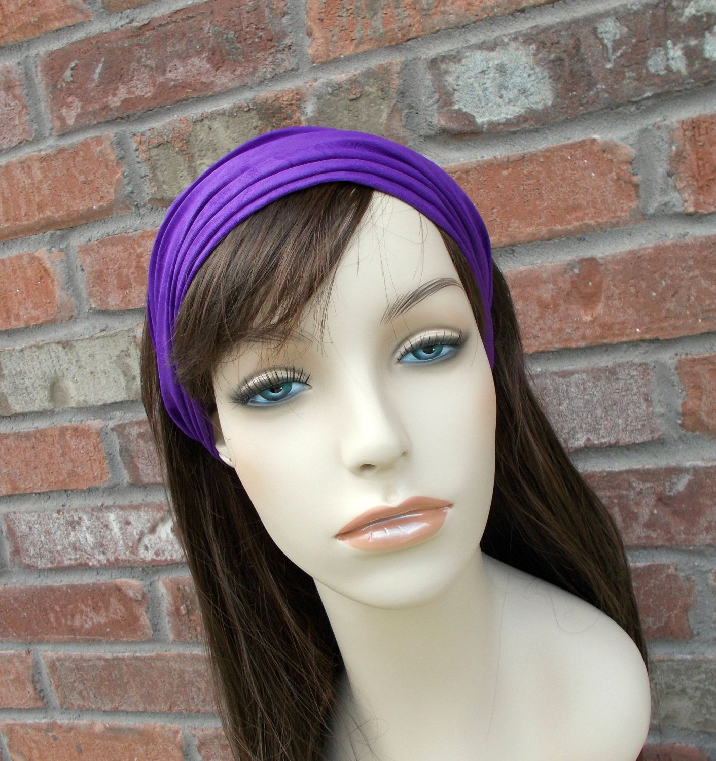 Purple Headband Stretchy For Woman Boho Fashion Head Scarves Hair Accessories Comfortable