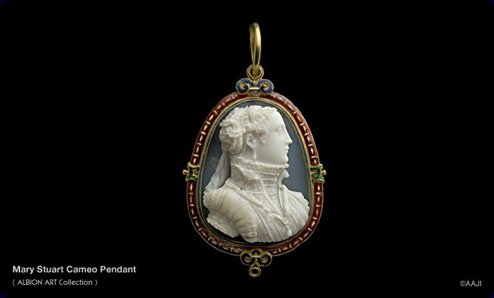 "1566: Mary Stuart cameo pendant.  Diana Scarisbrick: ""The bust compares with those of three unidentified princesses in the Museo degli Argenti (cf Riccardo Gennaioli, Le Gemme dei Medici al Museo degli Argenti, Florence, 2007, nos 262, 263, 264).  The beautiful and rare setting is similar to another, also for a bust said to be Mary Stuart in the Cabinet des Médailles, Paris (cf E Babelon, Catalogue des Caméees Antiques et Modernes de la Bibliothèque Nationale, Paris, 1897, no.977."