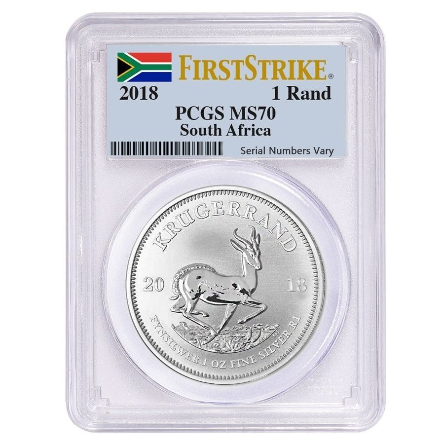 2018 South Africa 1 Oz Silver Krugerrand Pcgs Ms 70 First Strike Silver Krugerrand Pcgs Coins For Sale