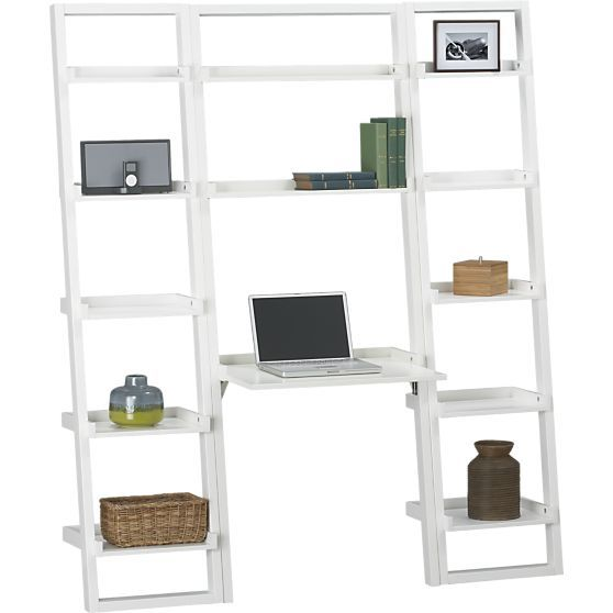 sloane white leaning desk with 2 18 bookcases in desks crate and rh pinterest com