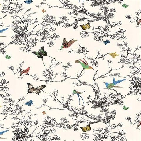 Birds & Butterflies Multi On White Bathroom wallpaper