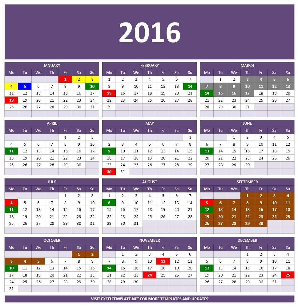 one page 2016 yearly calendar excel coolsites pinterest 2016