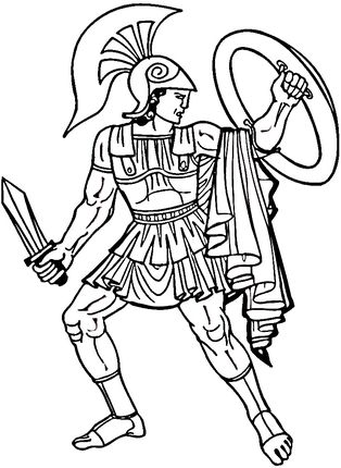 Greek Warrior Coloring Page With Images Greek Warrior Ancient