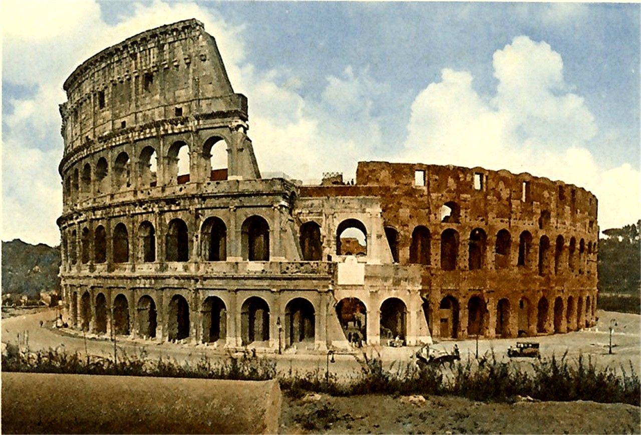ROMA ROME LANDMARKS COLOSSEUM TRAJAN/'S COLUMN TRAVEL ITALY VINTAGE POSTER REPRO