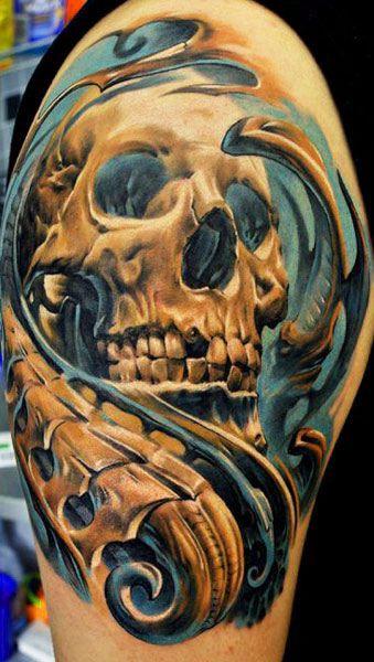 Tattoo Artist - Dmitriy Samohin   www.worldtattoogallery.com/skull-tattoo