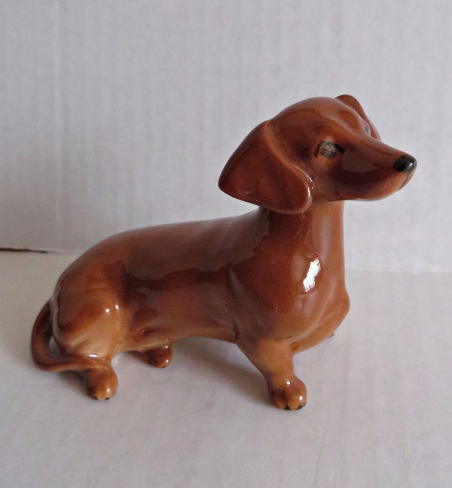 Vintage Beswick Dachshund Dog Sitting Figurine Brown England Rare
