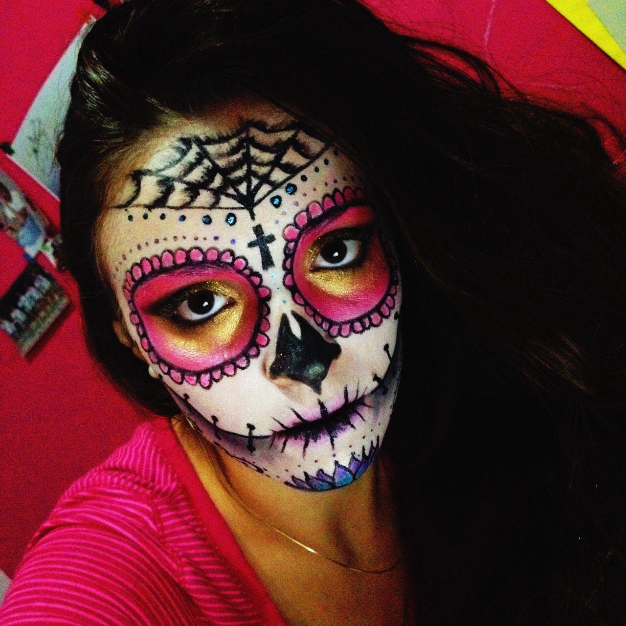 Sugar Skull Skull Sugarskull Mexico Culture Halloween Pink Gold Girl Costume Cute Girl Halloween Makeup Sugar Skull Makeup Halloween Makeup Looks
