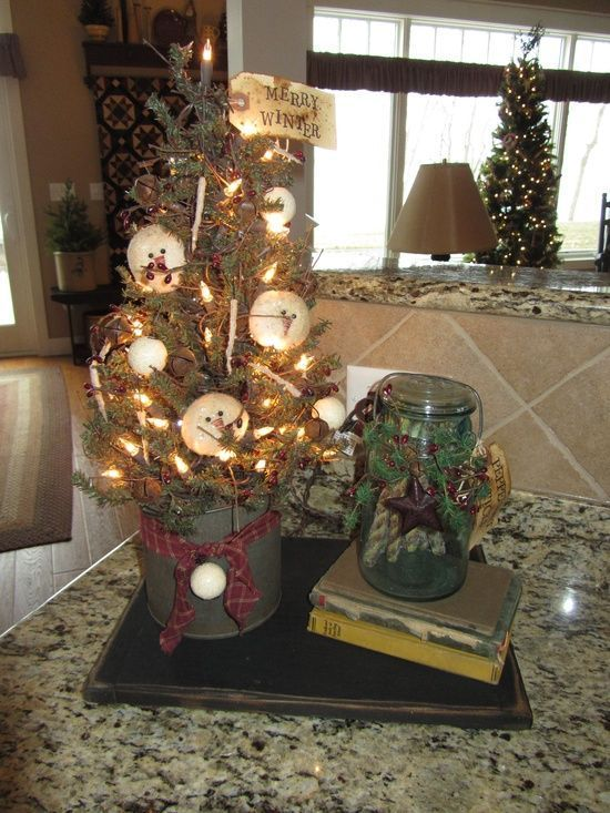 This set of three hanging primitive Christmas decorations in the - primitive christmas decorations