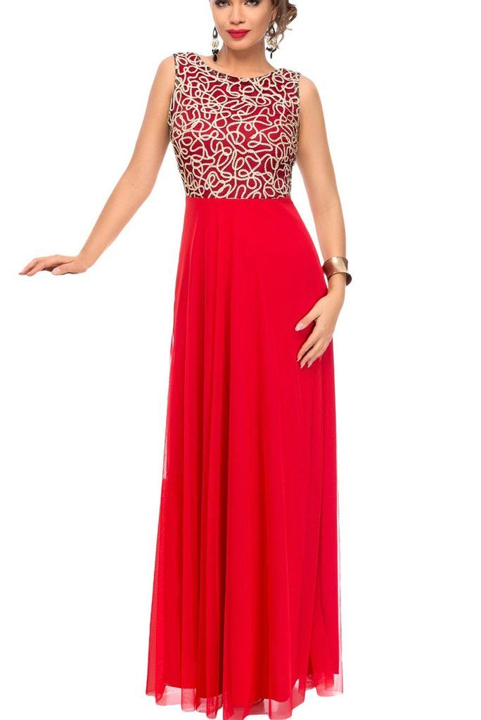 45e479b9334 Robes de Soiree Longues Chic Or Broderie Detail Tulle Rouge Overlay  MB61434-3 – Modebuy.com