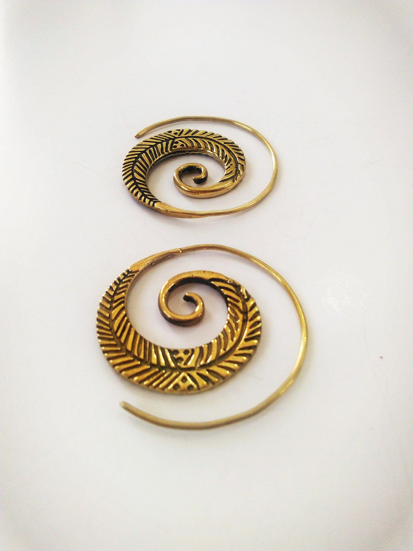 03159b5f9b456 Feather Earrings, Spiral Earrings, Brass earrings, Tribal earrings ...