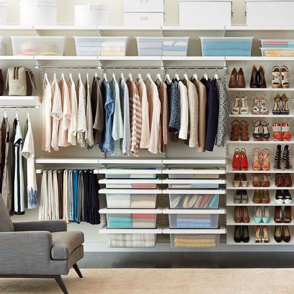 White elfa Deluxe Closet System | #DreamCloset #DJPDreamCloset #ContainerStore #Shoes #ShoeCloset