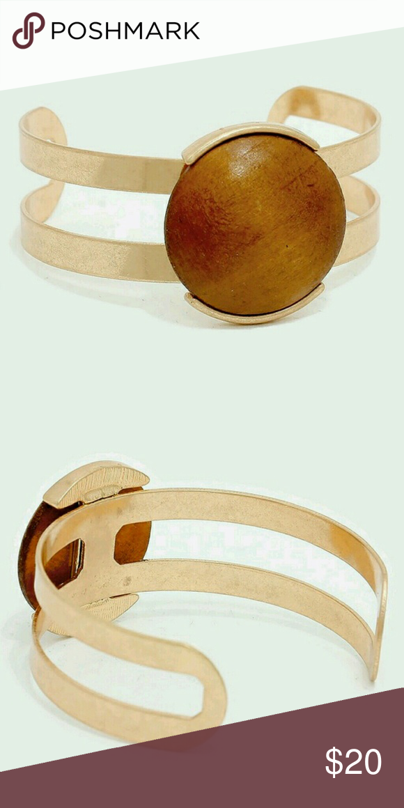 """Wooden Cabochon Cuff Bracelet Brown & matte gold with wood. Size: 1.25"""" H Farah Jewelry Jewelry Bracelets"""