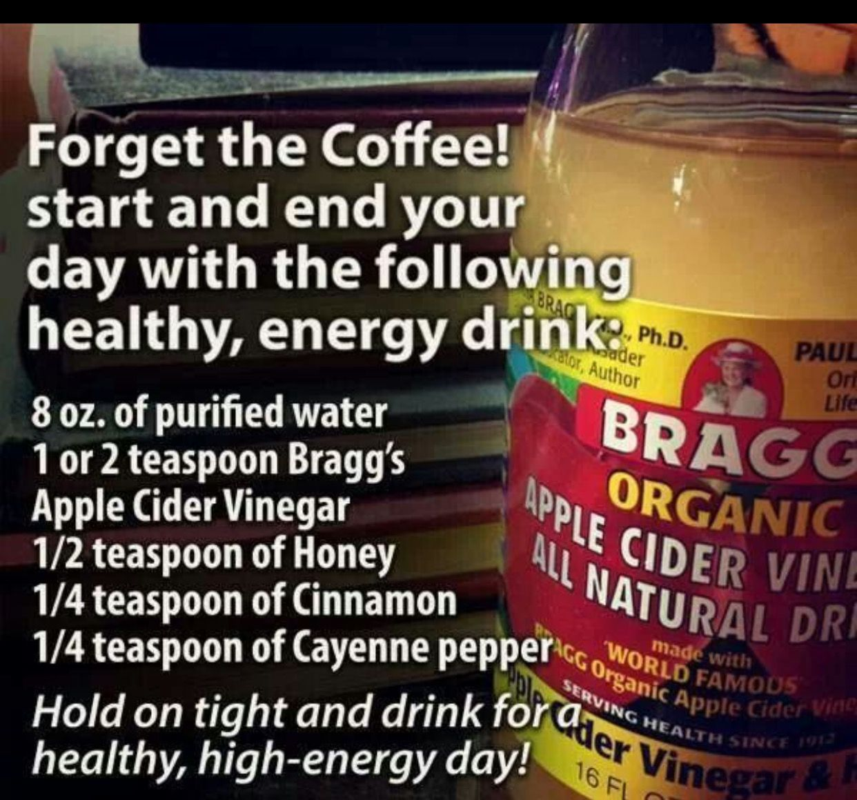 Old folk remedy: I was recommended to drink this concoction once a day by an older lady to lose weight and help with my arthritis. It's  cayenne, honey, lemon and apple cider vinegar with the mother.