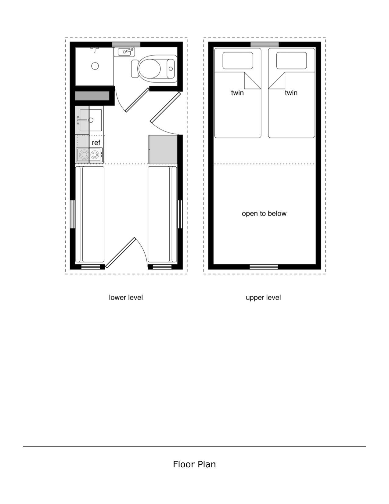 Calpella Cabin 8x16 v1 floor plan Tiny Home Board