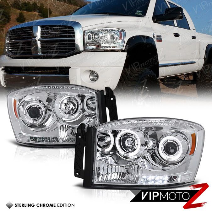 06 08 Dodge Ram Truck Pickup Led Halo Angel Eye Projector Head Light Pair Lamp Dodge Ram 1500 Dodge Ram Dodge Ram Diesel