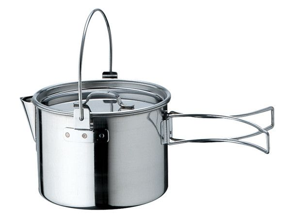 Snowpeak Stainless Kettle No. 1 $20. weighs 9oz. holds 880mL.