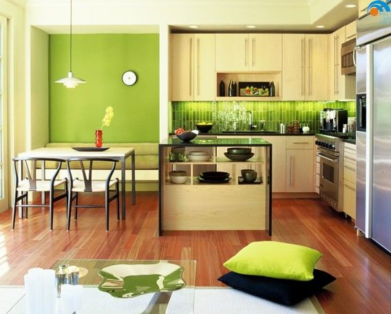 And Painted Accent Wall Modern Kitchen By Suzette Sherman Design