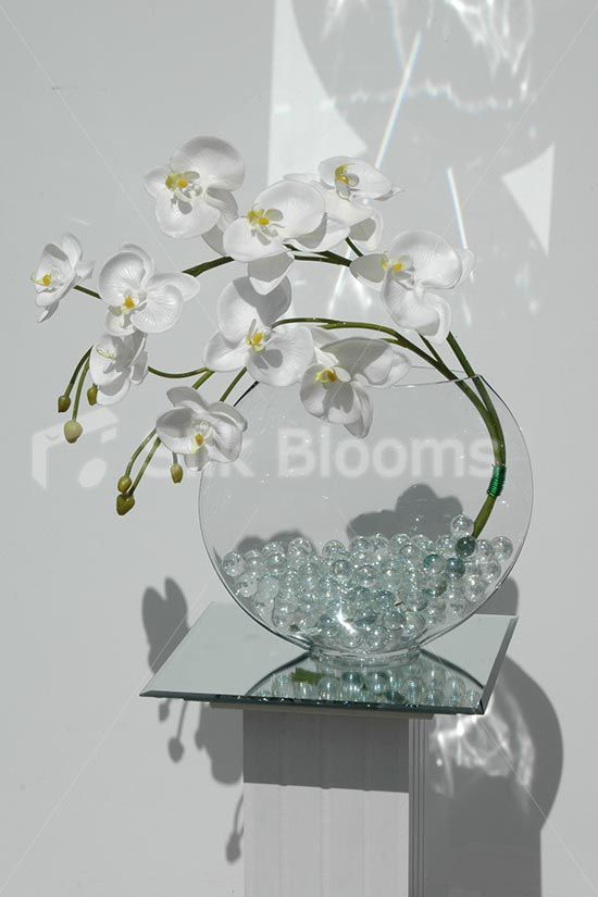 artificial white orchid u0026 glass vase floral display - Silk Orchids