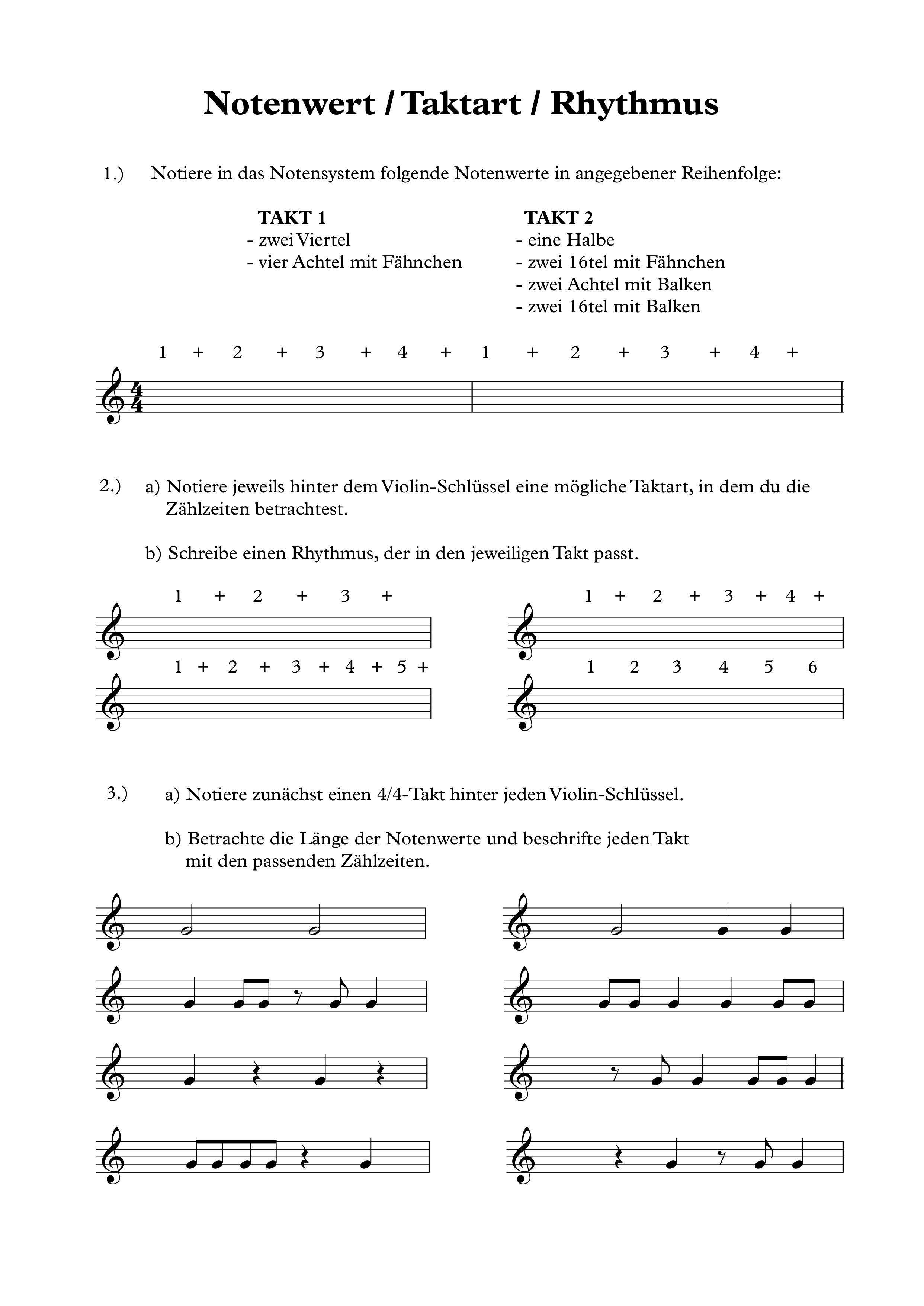 Übungen zu Notenwerten, Taktart, Zählzeiten, Rhythmus ...