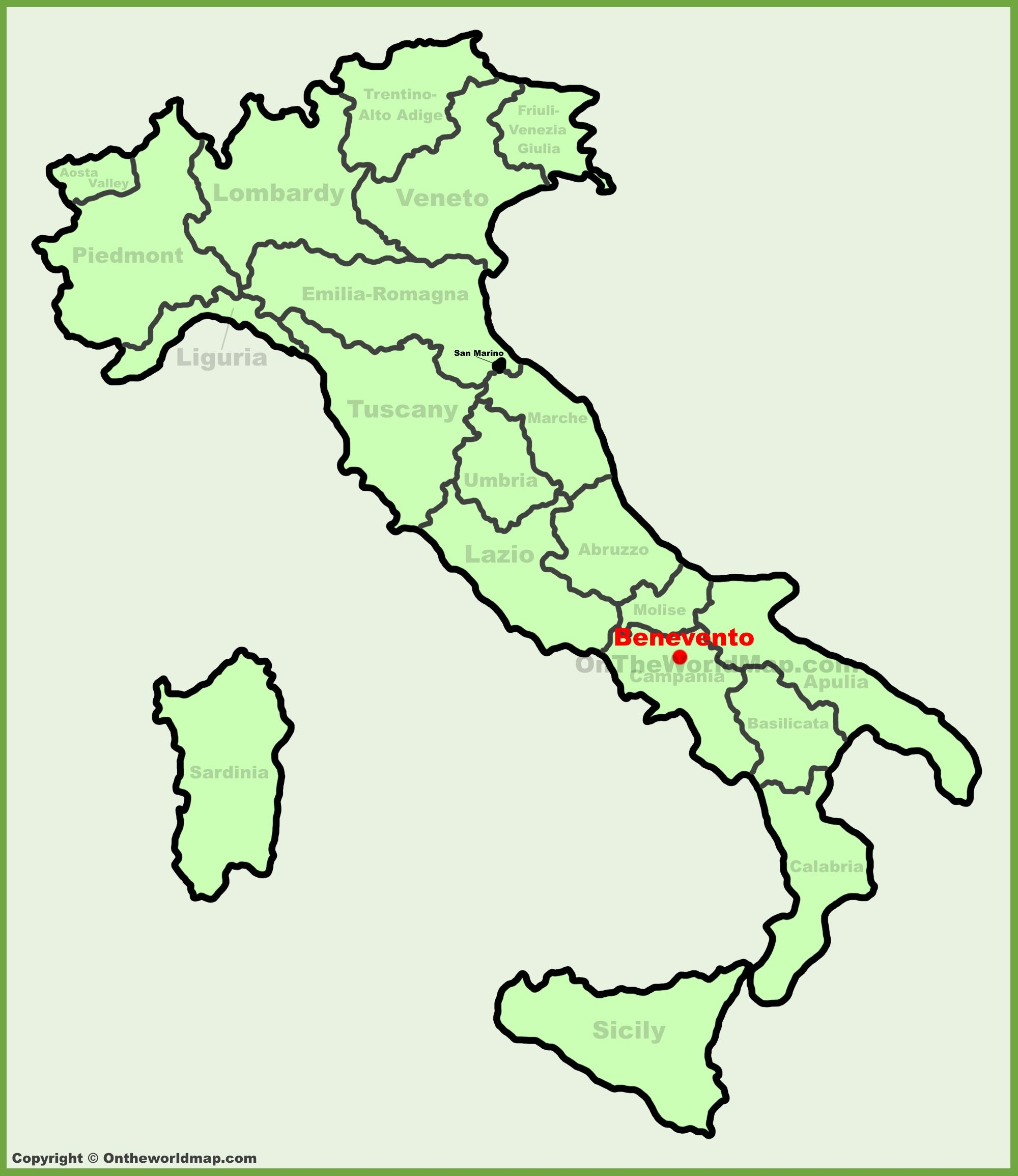Benevento location on the Italy map Maps Pinterest Italy and City