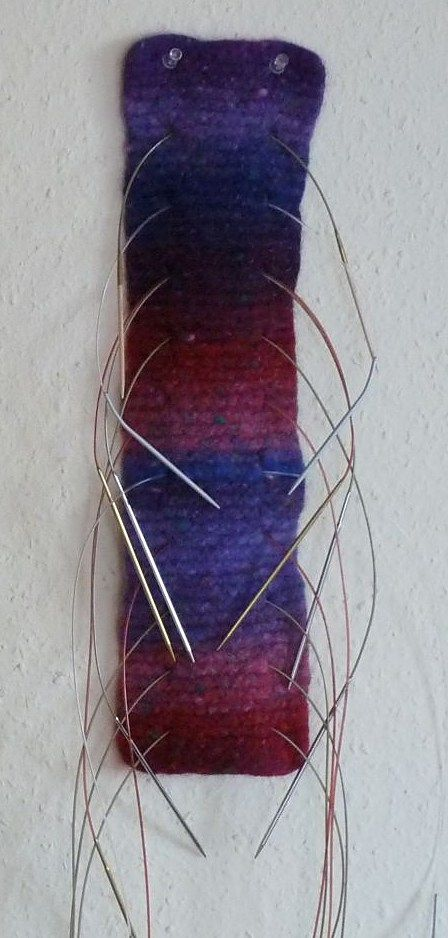 Free knitting pattern for Simple Garter Stitch Needleholder - Annette Maass designed this quick easy one skein project for a felted needleholder. Great for multi-color yarn!