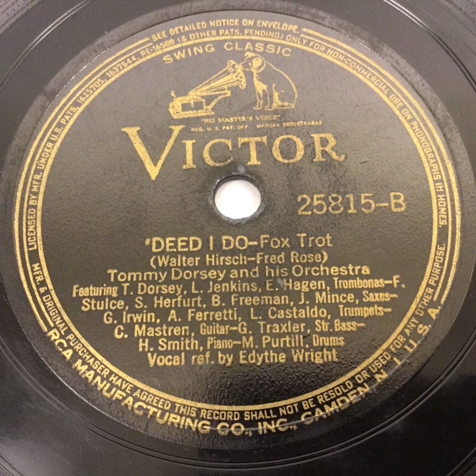 1938 TOMMY DORSEY 78 RPM RCA VICTOR RECORD 25815 DEED I DO