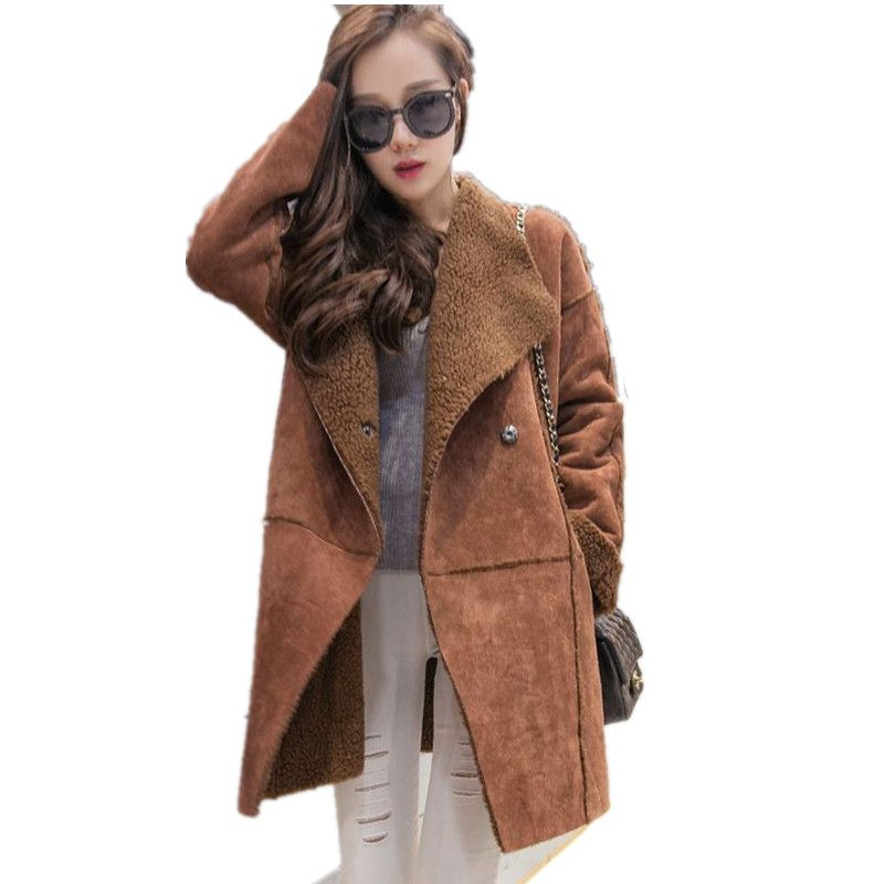 d2af80f0bb8 Coats · XS-4XL Plus Size 2016 New Winter Fashion Women Elegant Lapel Long  Sleeve Pure Color