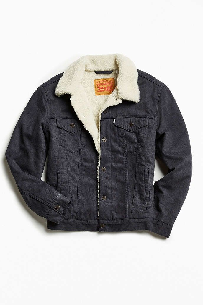 1802c7fc5d8 Levi s Flannel Sherpa Trucker Jacket from UrbanOutfitters.com Size  Small