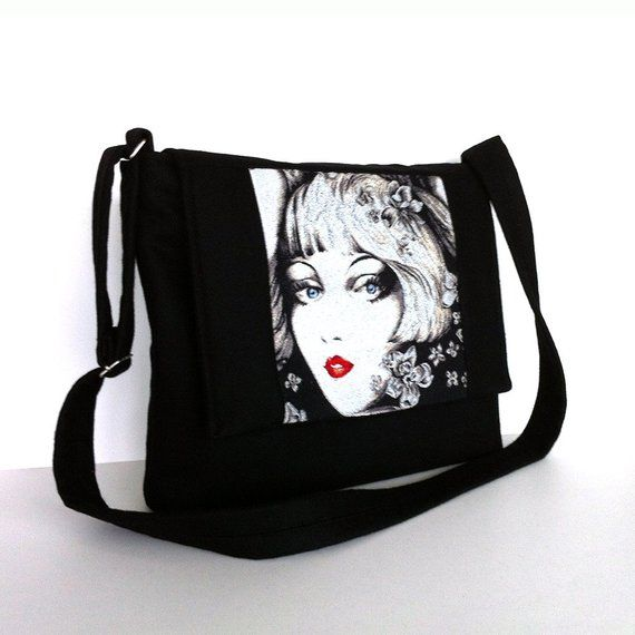 Black messenger bag Crossbody bag Women office bag Side purse Work bag  School messenger College bag 9da7203594118