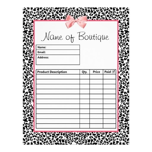 Trendy Black And White Leopard Print Order Forms Flyer  Boutique