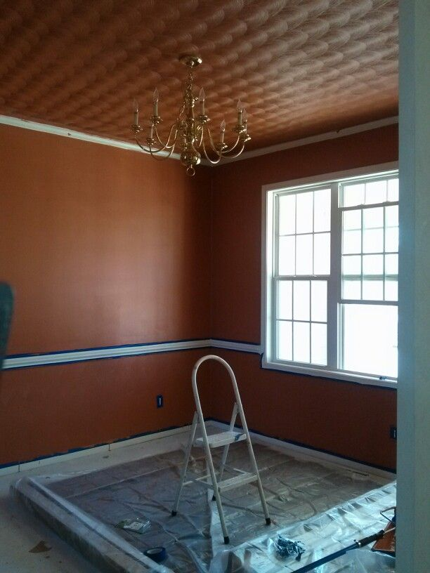 My dinning room with the first coat of paint.
