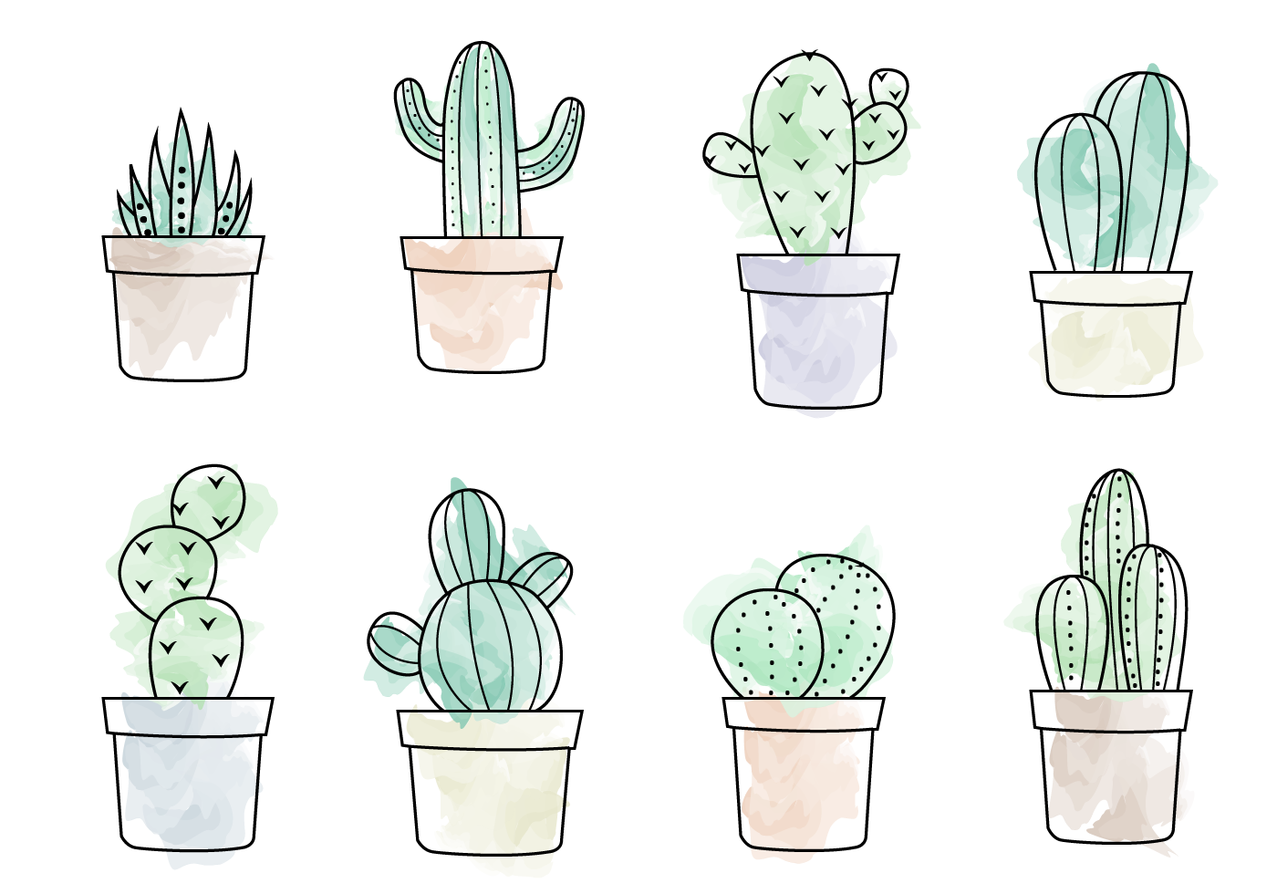 A Free Vector Illustration Of Eight Different Types Of Cacti Hope