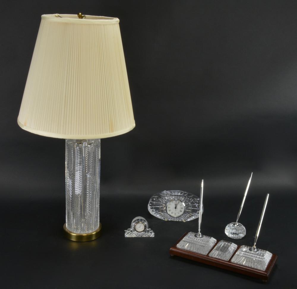 Vintage Waterford Crystal Lamp Desk Set Collection