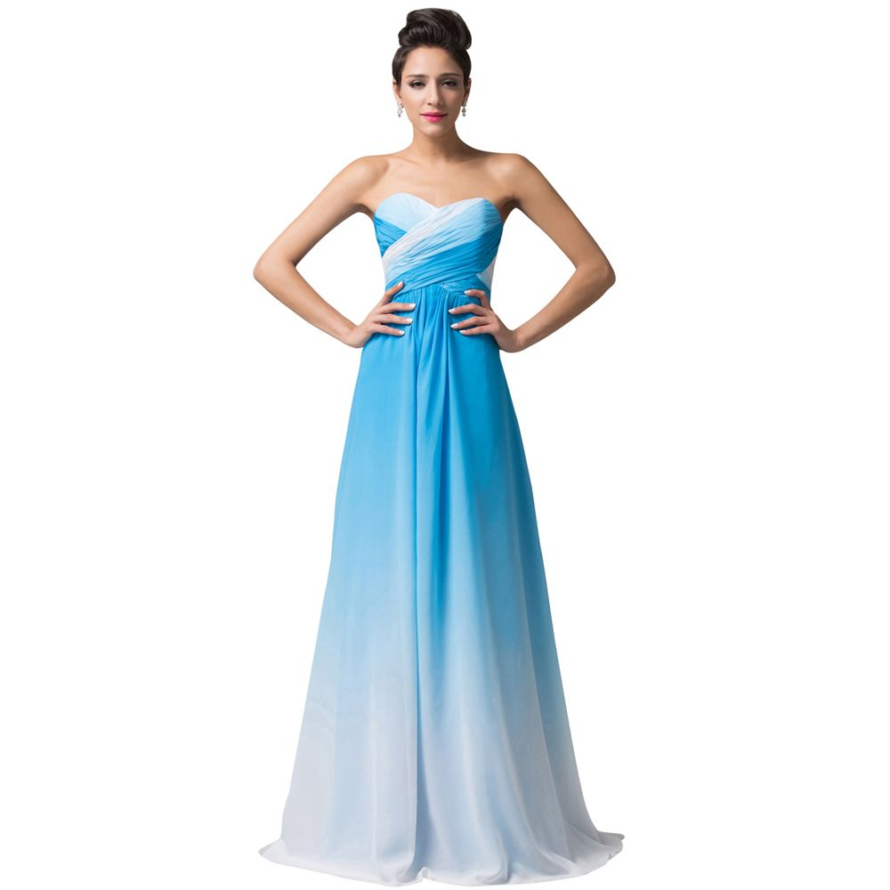 Free Delivery Blue Red Long Ombre Bridesmaid Dresses 2017 Prom Dress ...