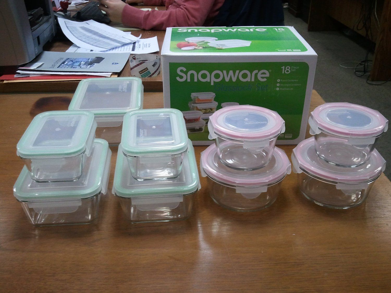 Amazon.com   Snapware Glasslock Glass Storage Containers With Lids 18pc Set  Nesting Design