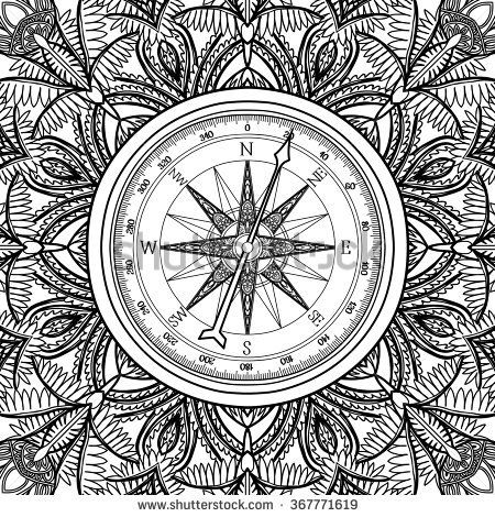Image Result For Adult Coloring Page Compass Rose With Images