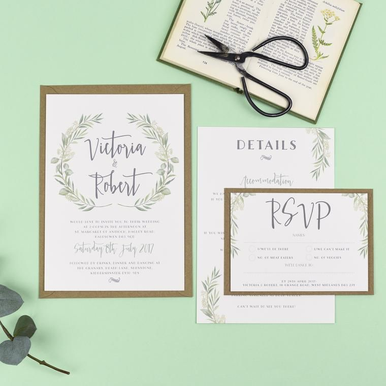 Watercolour Greenery Eucalyptus Wedding Invitations - Aisling ...